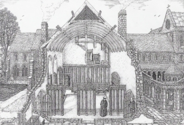 Artist's reconstruction of St Nicholas Priory